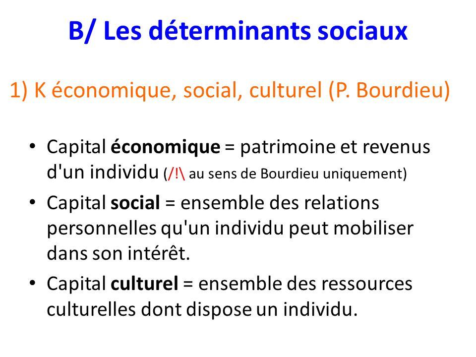 1) K économique, social, culturel (P. Bourdieu)