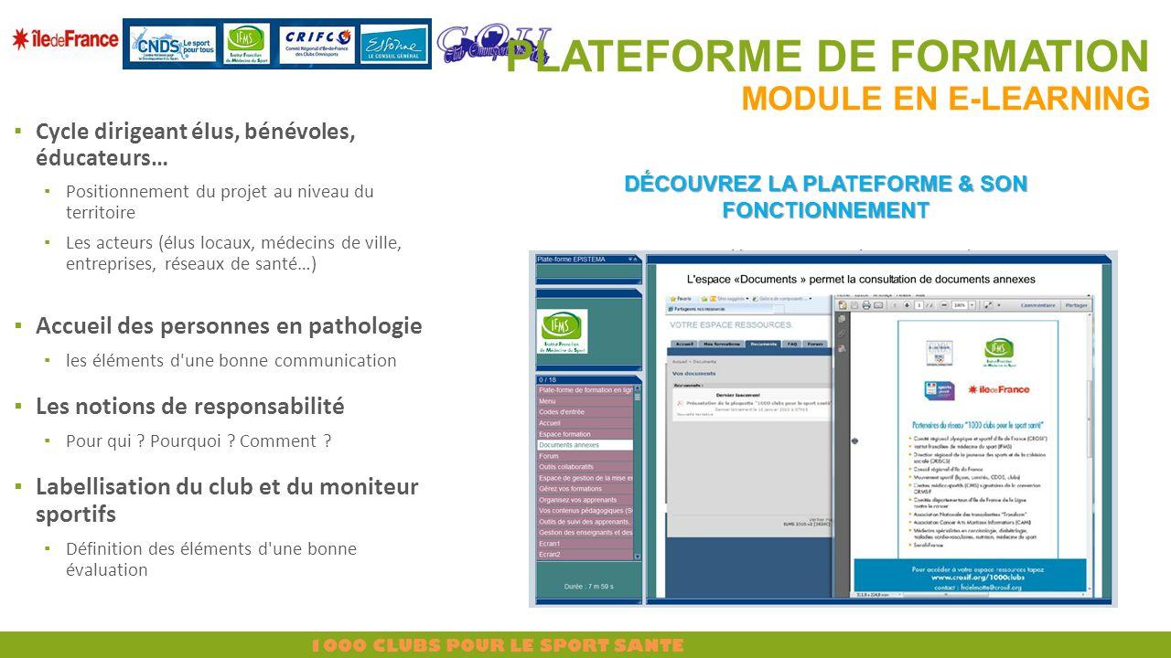 PLATEFORME DE FORMATION Module en E-learning