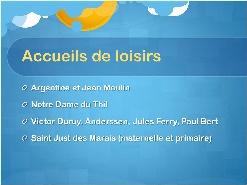Accueils de loisirs Argentine et Jean Moulin Notre Dame du Thil
