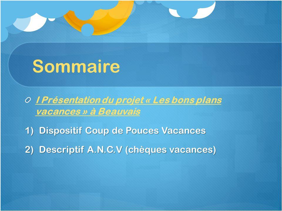 Sommaire I Présentation du projet « Les bons plans vacances » à Beauvais. Dispositif Coup de Pouces Vacances.