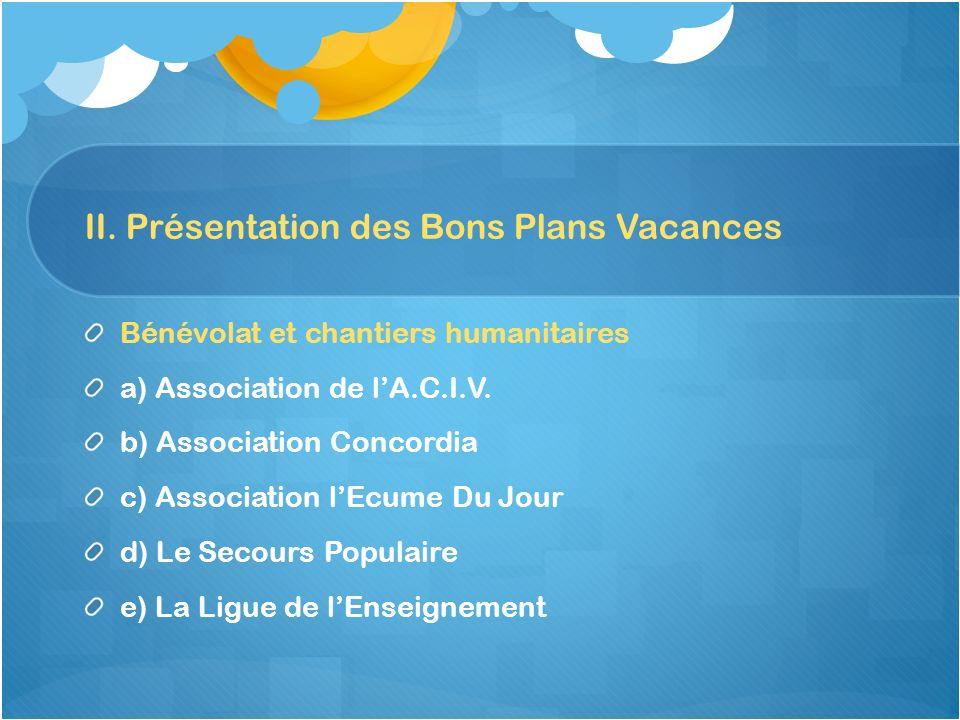 II. Présentation des Bons Plans Vacances
