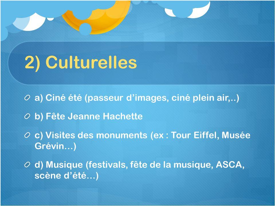 2) Culturelles a) Ciné été (passeur d'images, ciné plein air,..)