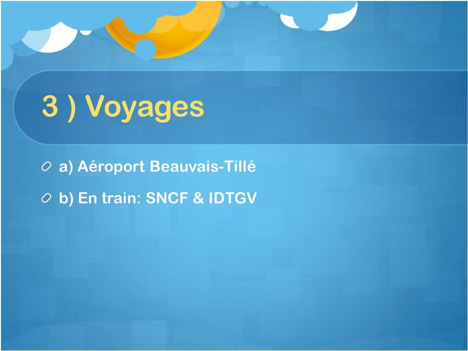 3 ) Voyages a) Aéroport Beauvais-Tillé b) En train: SNCF & IDTGV