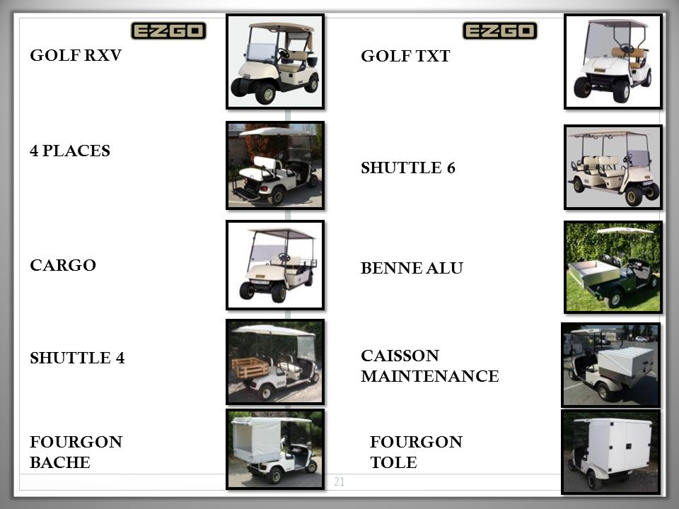 GOLF RXV GOLF TXT. 4 PLACES. SHUTTLE 6. CARGO. BENNE ALU. SHUTTLE 4. CAISSON MAINTENANCE. FOURGON BACHE.