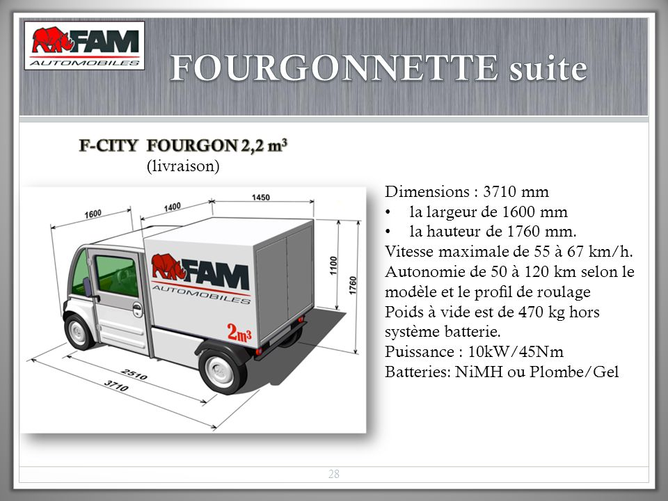 FOURGONNETTE suite F-CITY FOURGON 2,2 m3 (livraison)