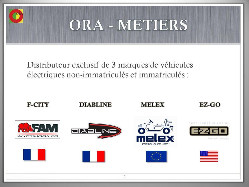 ORA - METIERS Distributeur exclusif de 3 marques de véhicules électriques non-immatriculés et immatriculés :