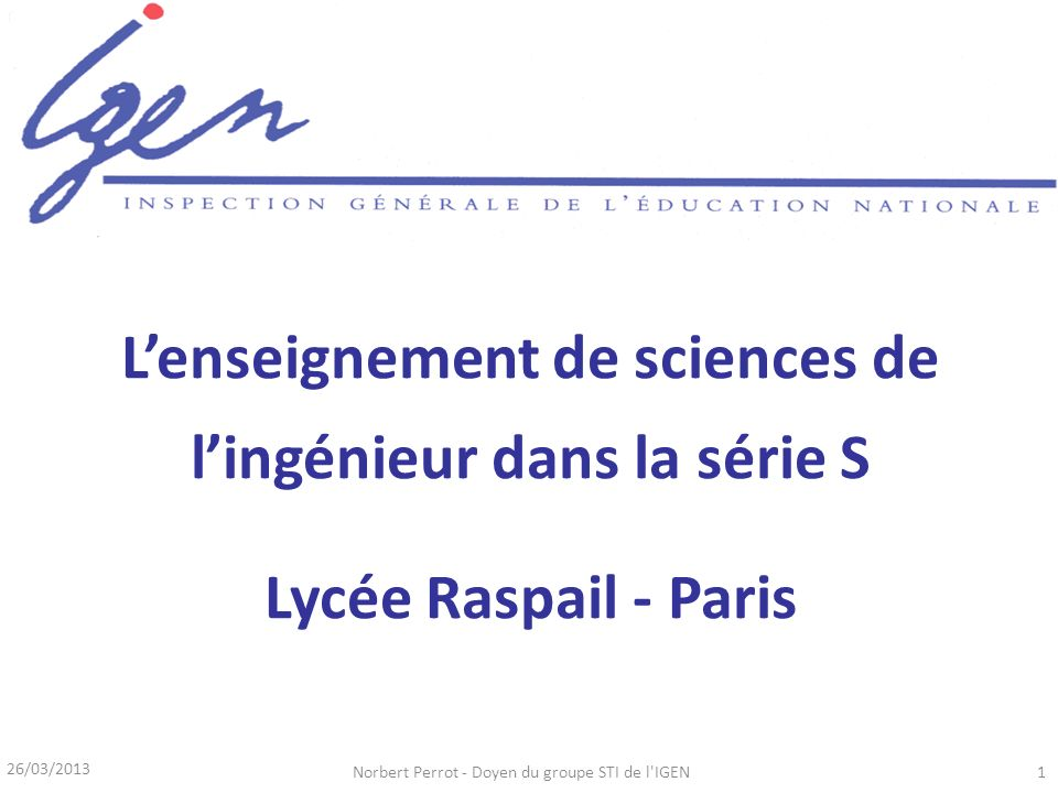 L'enseignement de sciences de l'ingénieur dans la série S