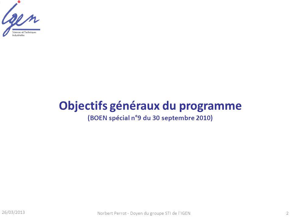 Objectifs généraux du programme