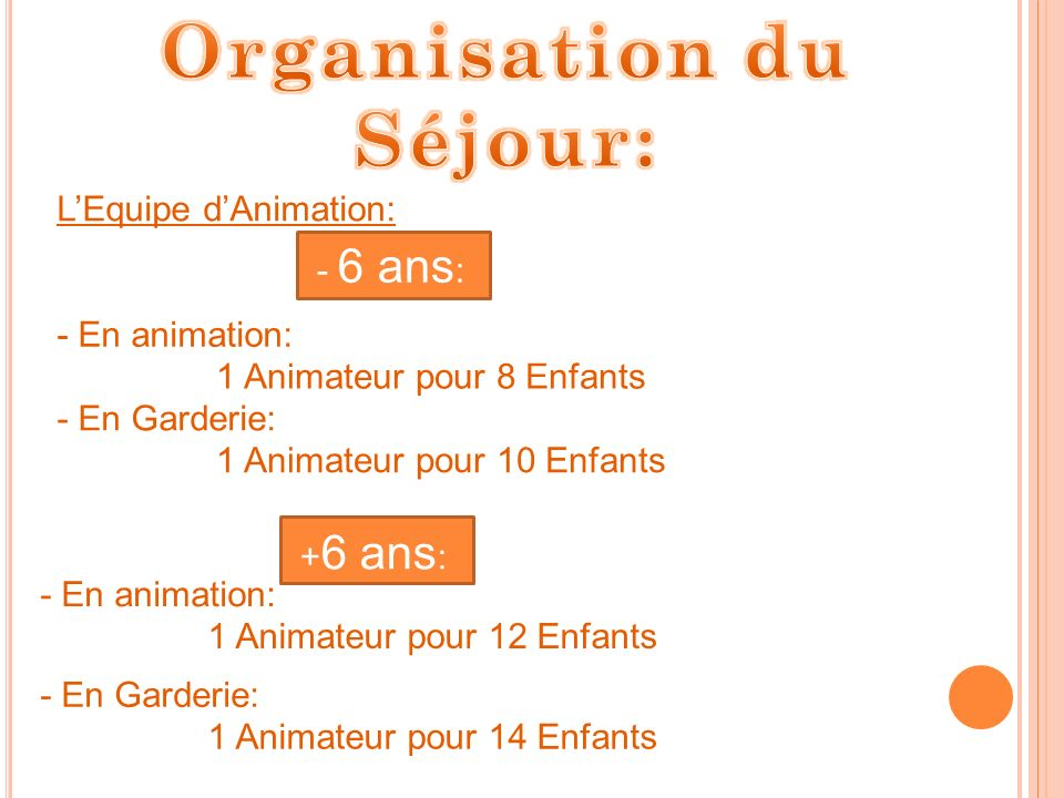Organisation du Séjour: