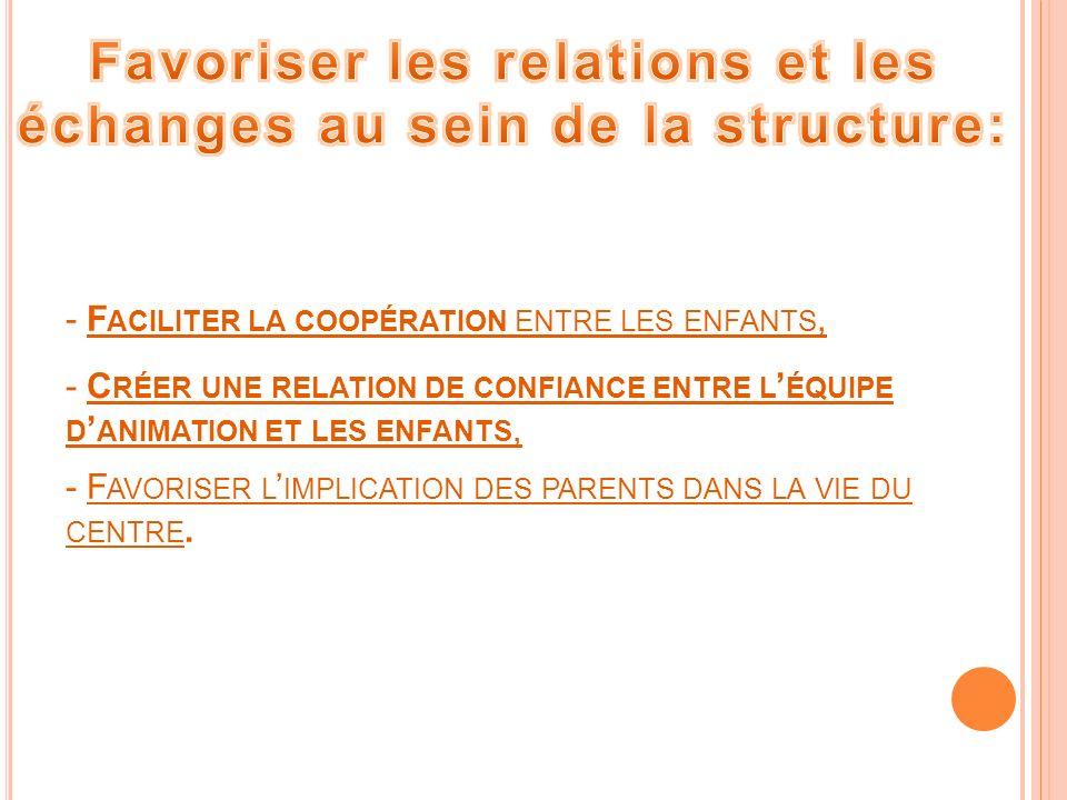 Favoriser les relations et les échanges au sein de la structure: