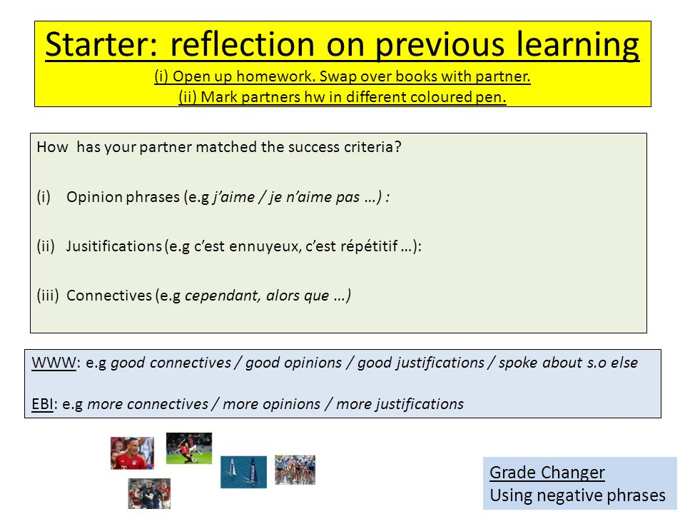 Starter: reflection on previous learning (i) Open up homework