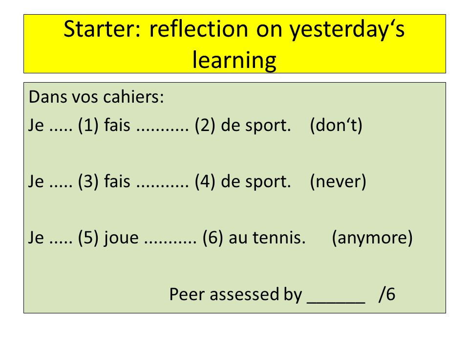 Starter: reflection on yesterday's learning