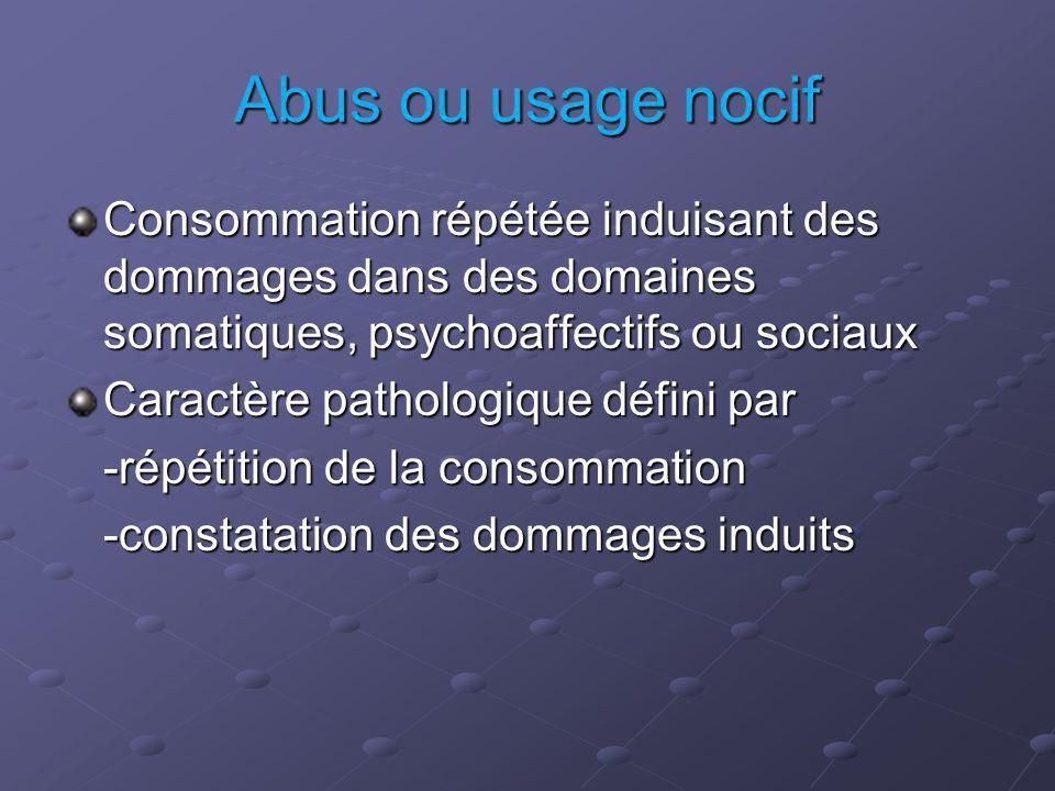 Abus ou usage nocif Consommation répétée induisant des dommages dans des domaines somatiques, psychoaffectifs ou sociaux.