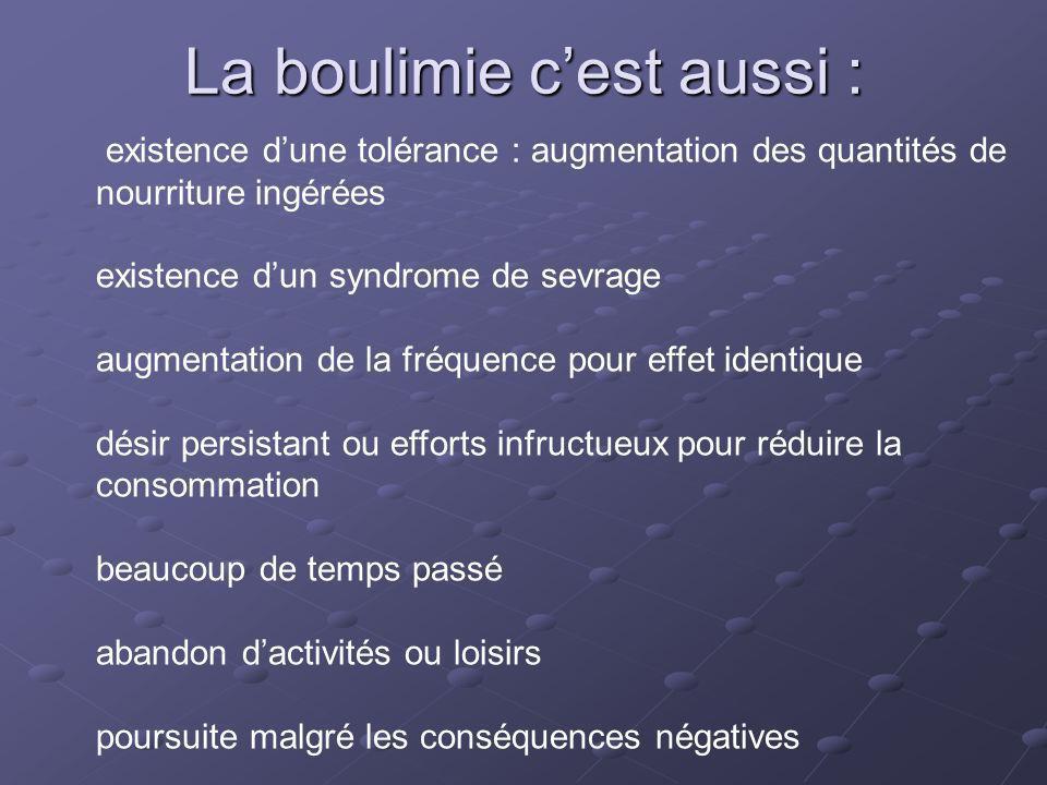 La boulimie c'est aussi :