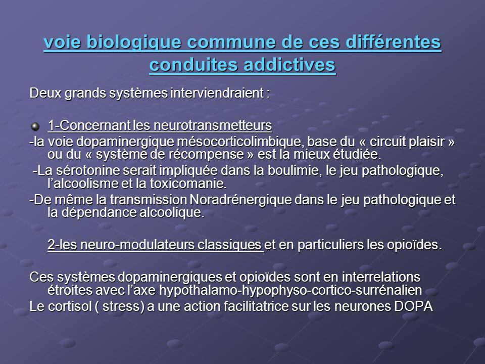 voie biologique commune de ces différentes conduites addictives