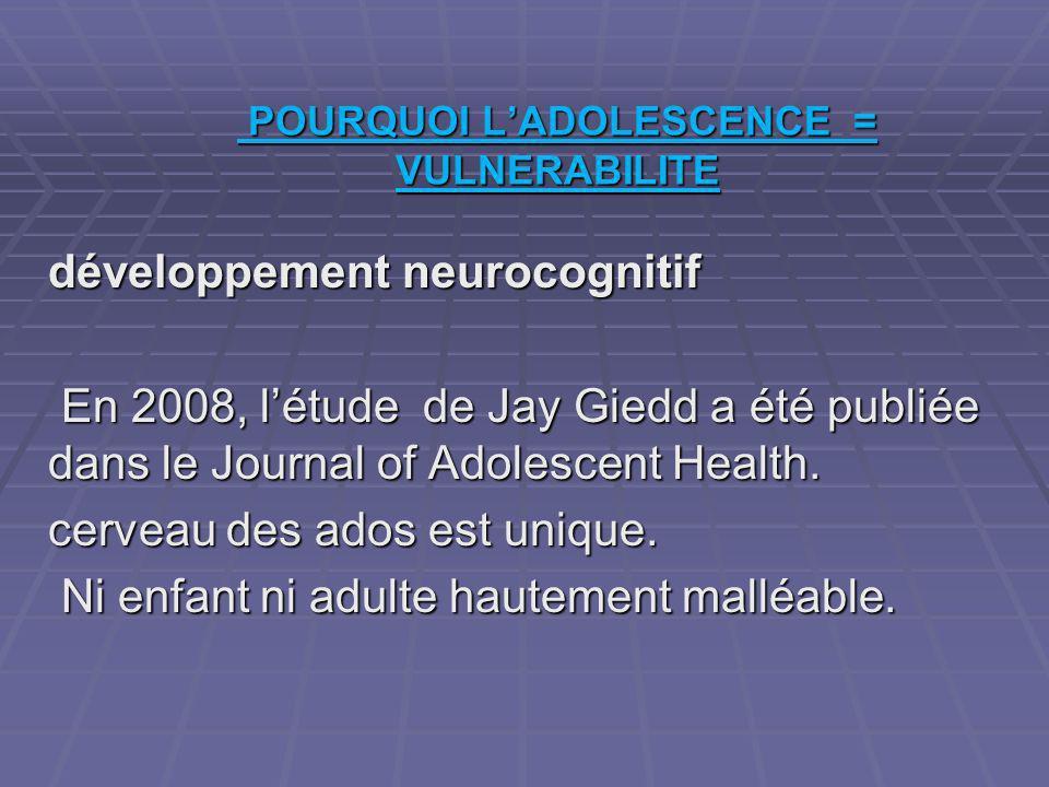 POURQUOI L'ADOLESCENCE = VULNERABILITE