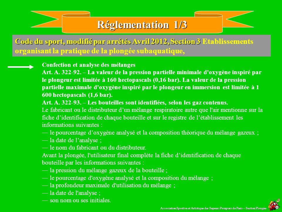 Réglementation 1/3 Code du sport, modifié par arrétés Avril 2012, Section 3 Etablissements organisant la pratique de la plongée subaquatique,