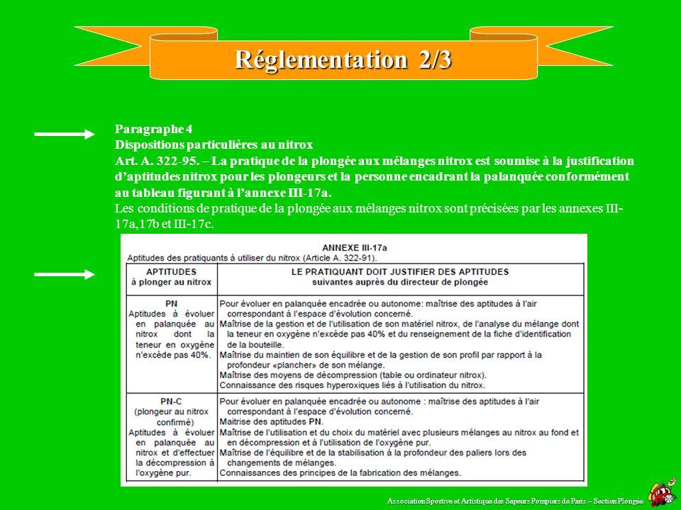 Réglementation 2/3 Paragraphe 4 Dispositions particulières au nitrox