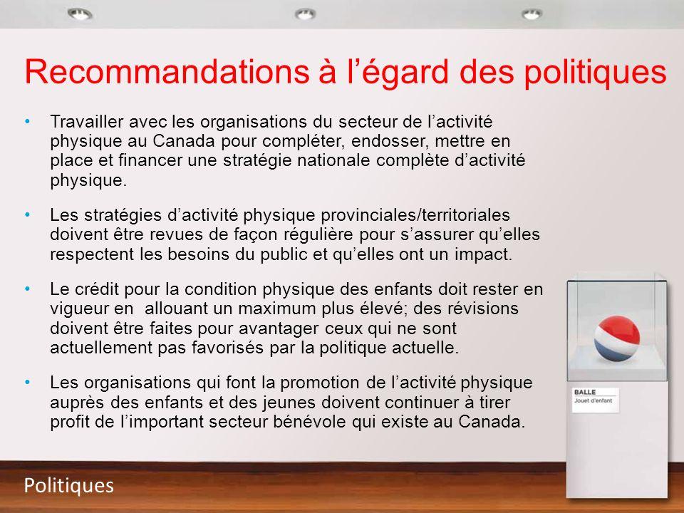 Recommandations à l'égard des politiques