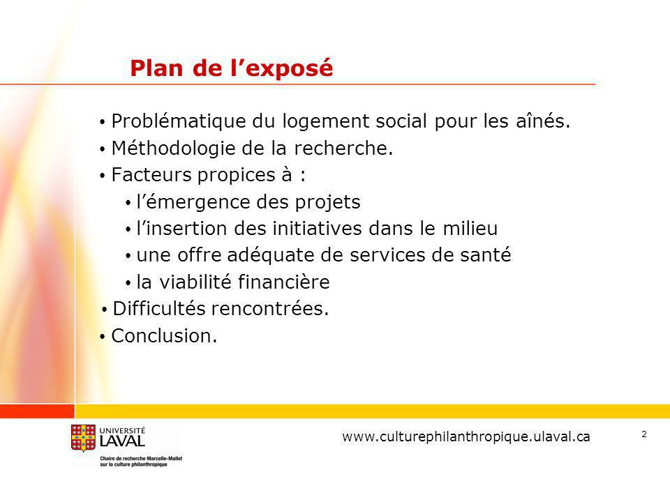 Plan de l'exposé Problématique du logement social pour les aînés.