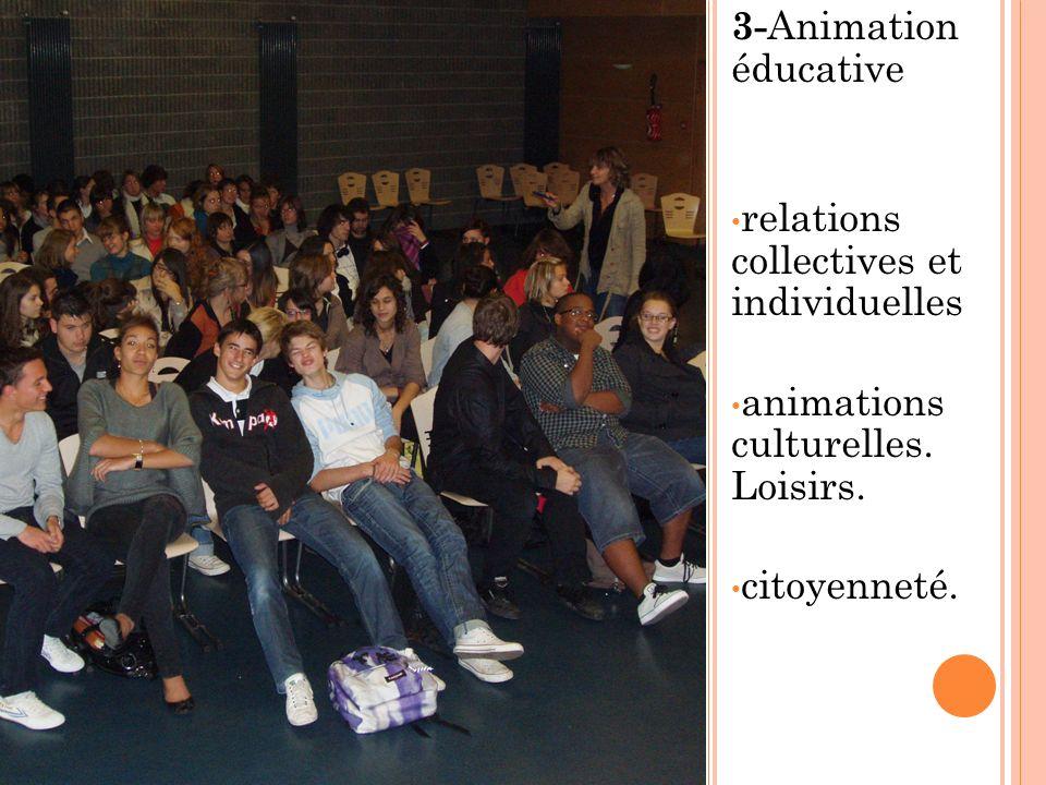 3-Animation éducative relations collectives et individuelles. animations culturelles. Loisirs.