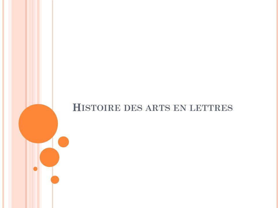 Histoire des arts en lettres