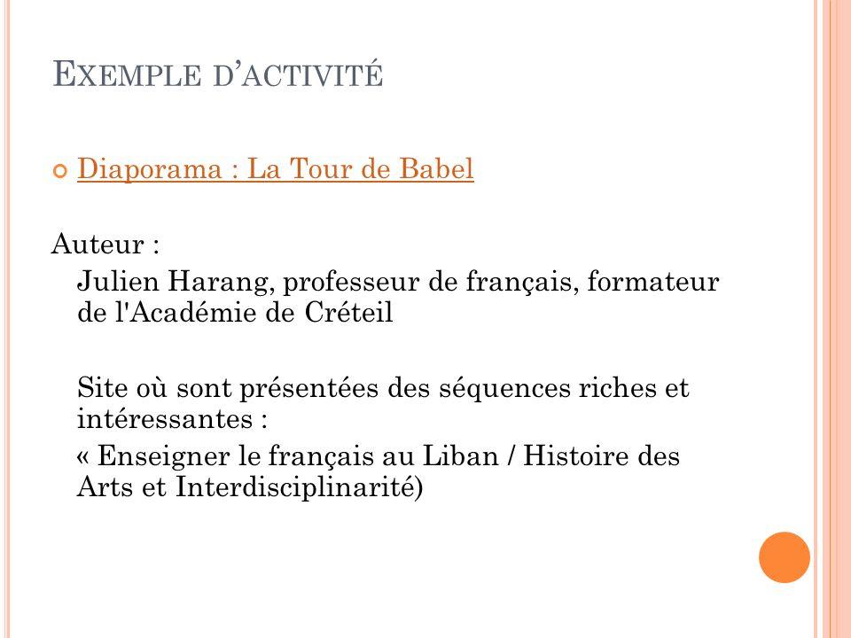Exemple d'activité Diaporama : La Tour de Babel Auteur :