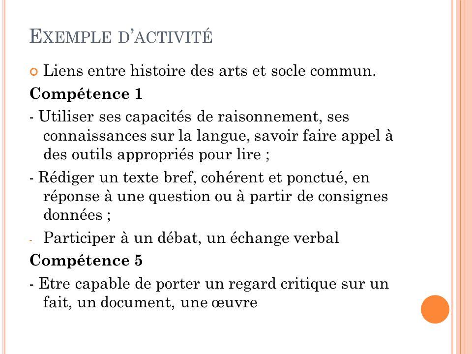 Exemple d'activité Liens entre histoire des arts et socle commun.