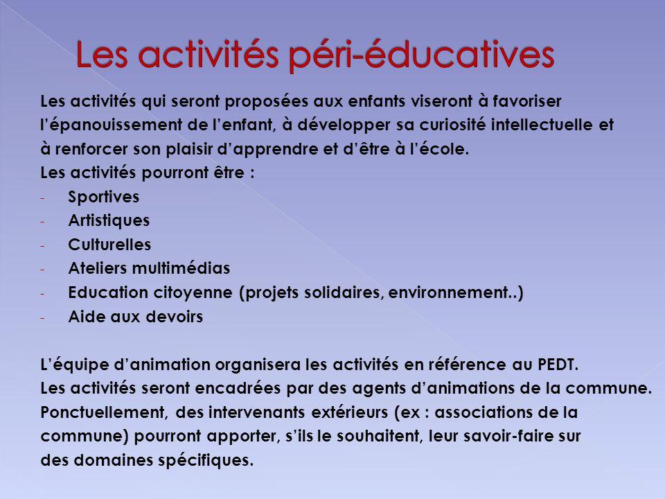 Les activités péri-éducatives