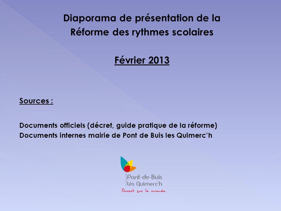 Diaporama de présentation de la Réforme des rythmes scolaires