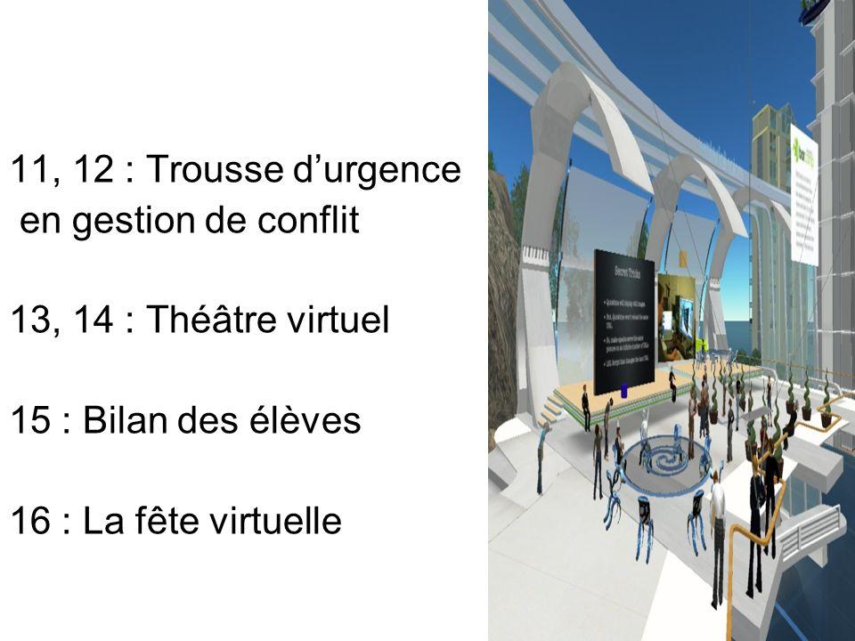 11, 12 : Trousse d'urgence en gestion de conflit. 13, 14 : Théâtre virtuel. 15 : Bilan des élèves.