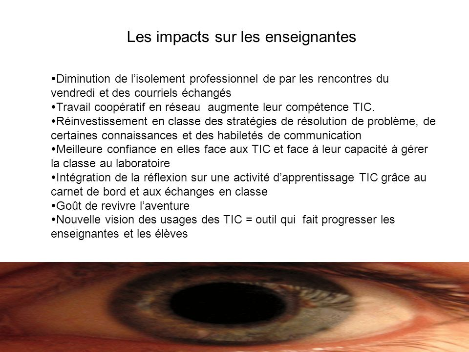 Les impacts sur les enseignantes