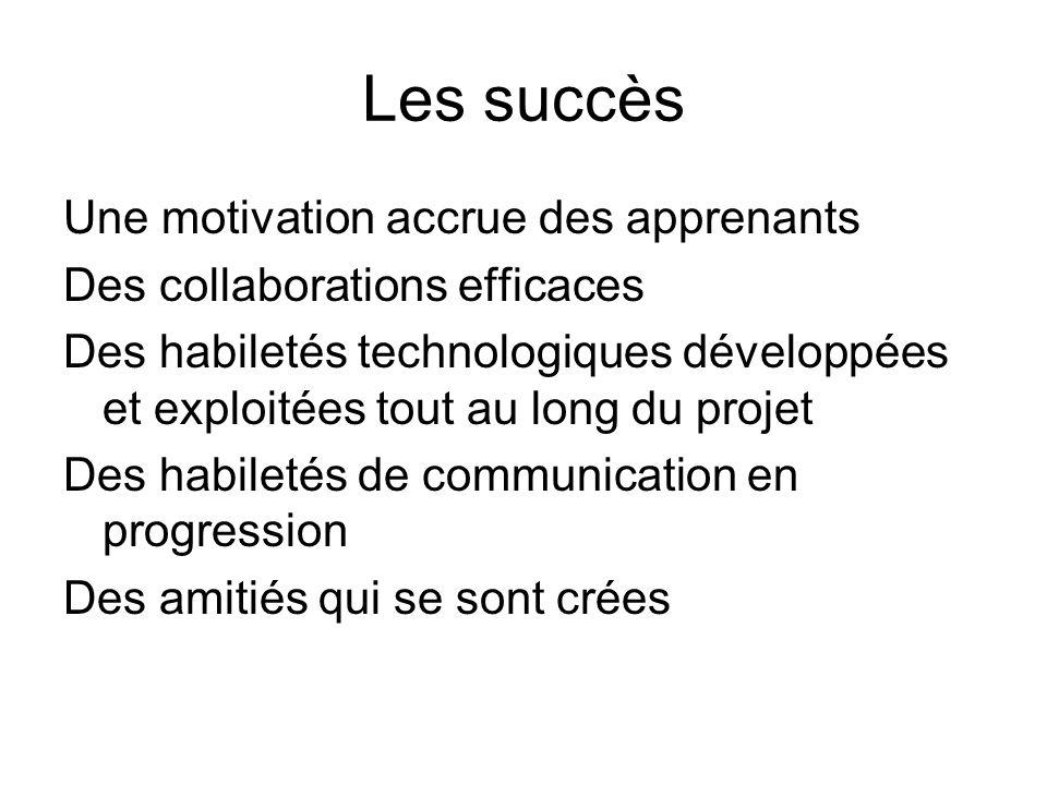 Les succès Une motivation accrue des apprenants