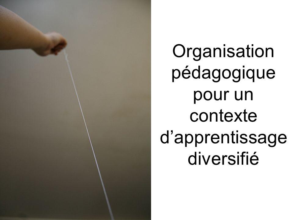 Organisation pédagogique pour un contexte d'apprentissage diversifié