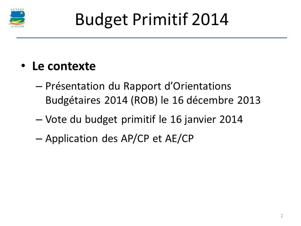 Budget Primitif 2014 Le contexte