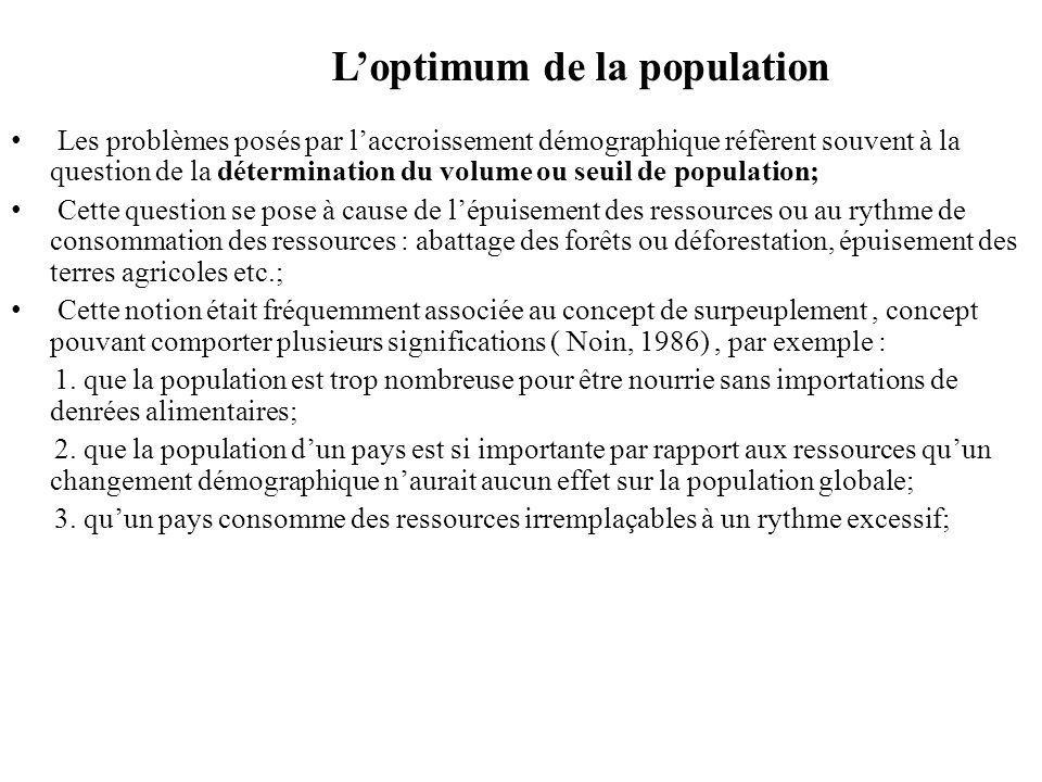 L'optimum de la population