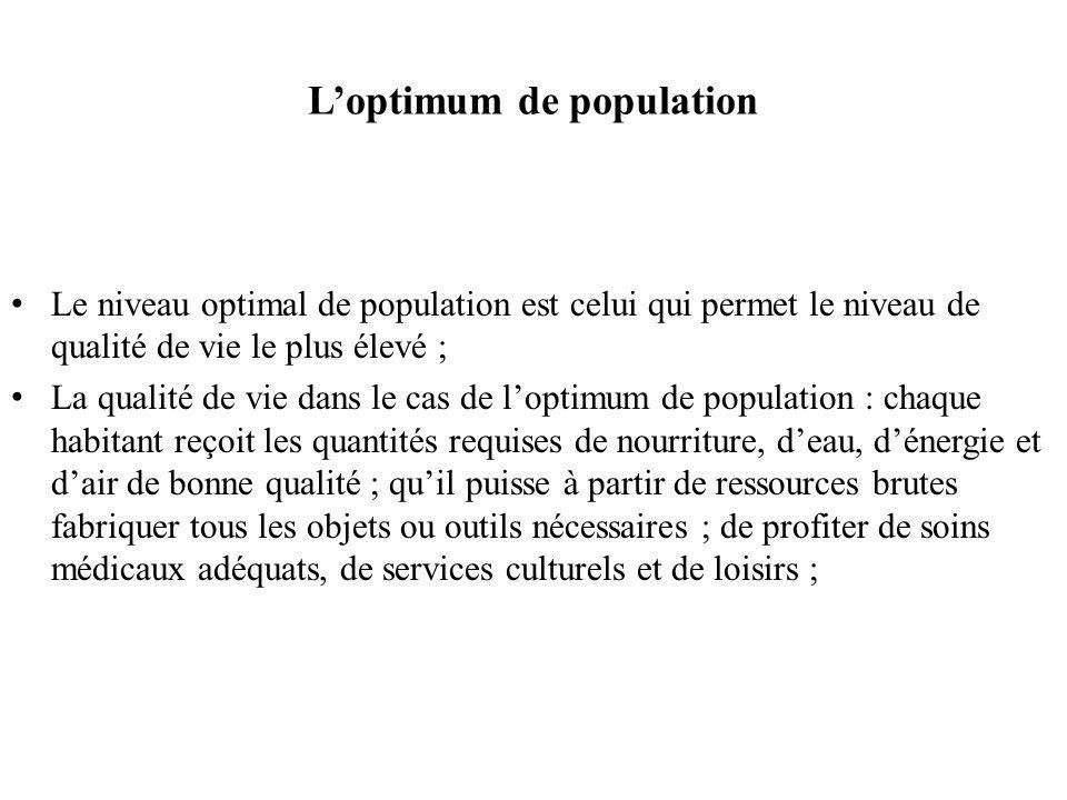 L'optimum de population