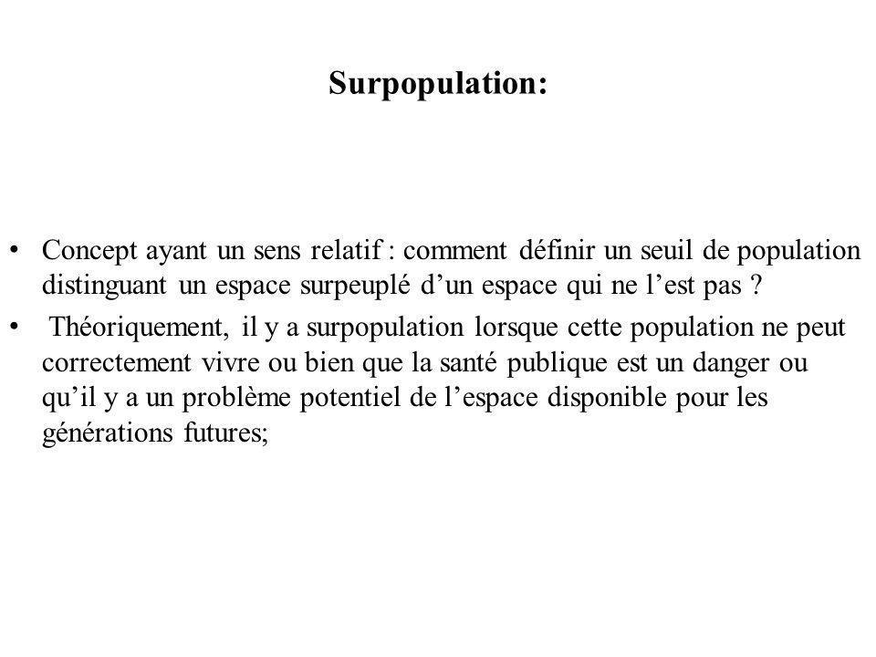 Surpopulation: Concept ayant un sens relatif : comment définir un seuil de population distinguant un espace surpeuplé d'un espace qui ne l'est pas