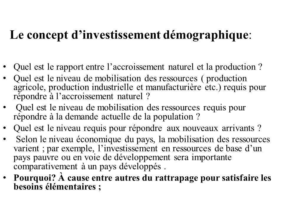 Le concept d'investissement démographique: