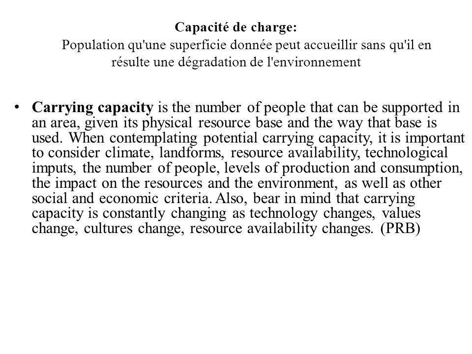 Capacité de charge: Population qu une superficie donnée peut accueillir sans qu il en résulte une dégradation de l environnement