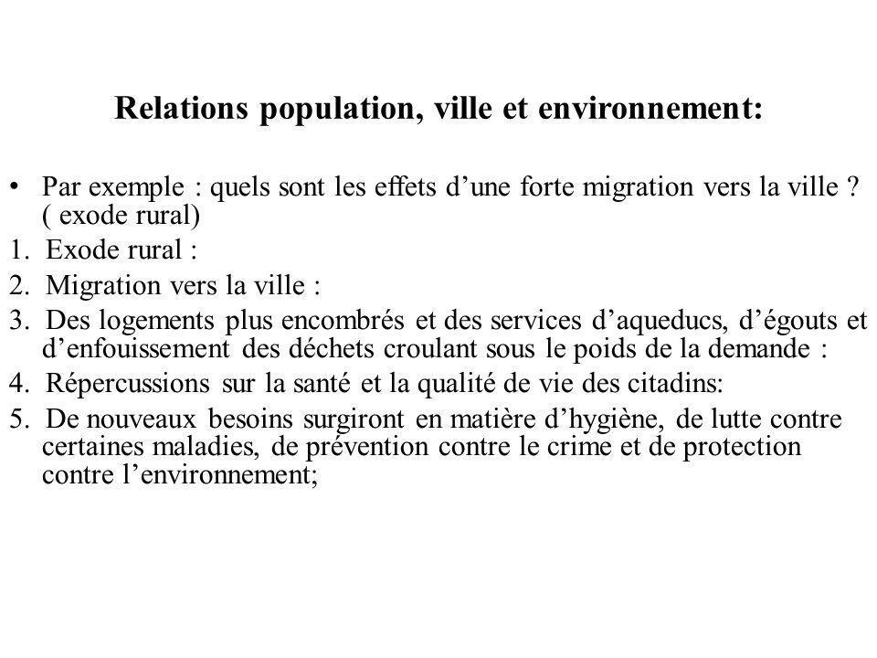 Relations population, ville et environnement: