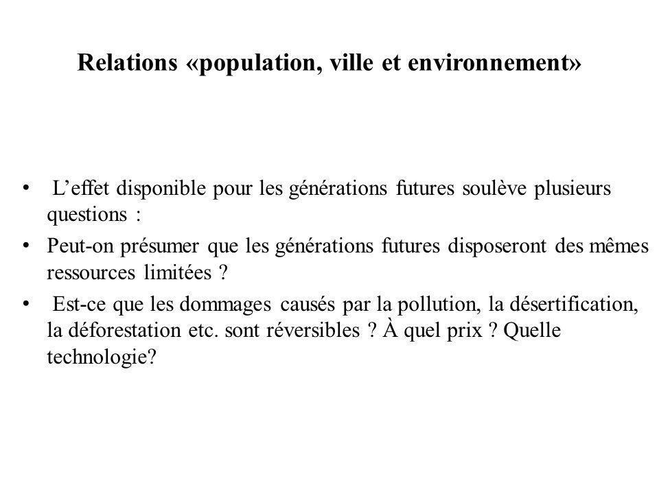 Relations «population, ville et environnement»