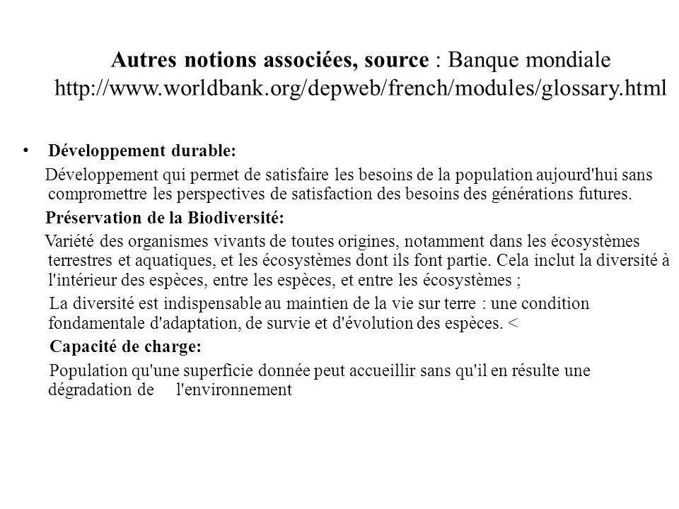 Autres notions associées, source : Banque mondiale http://www