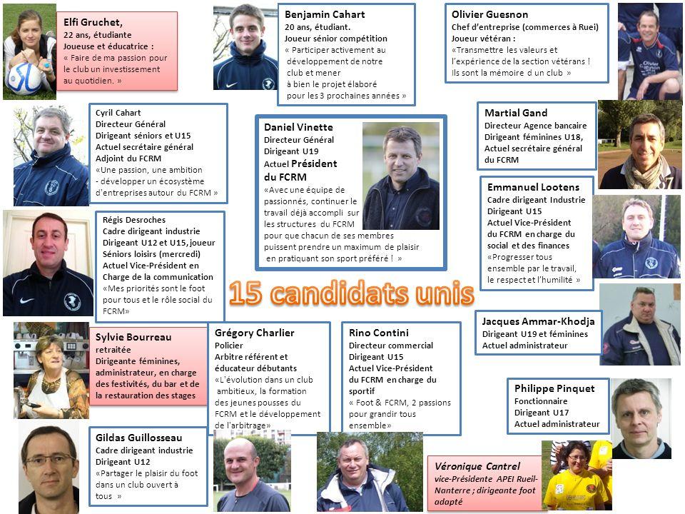 15 candidats unis Benjamin Cahart Olivier Guesnon Elfi Gruchet,
