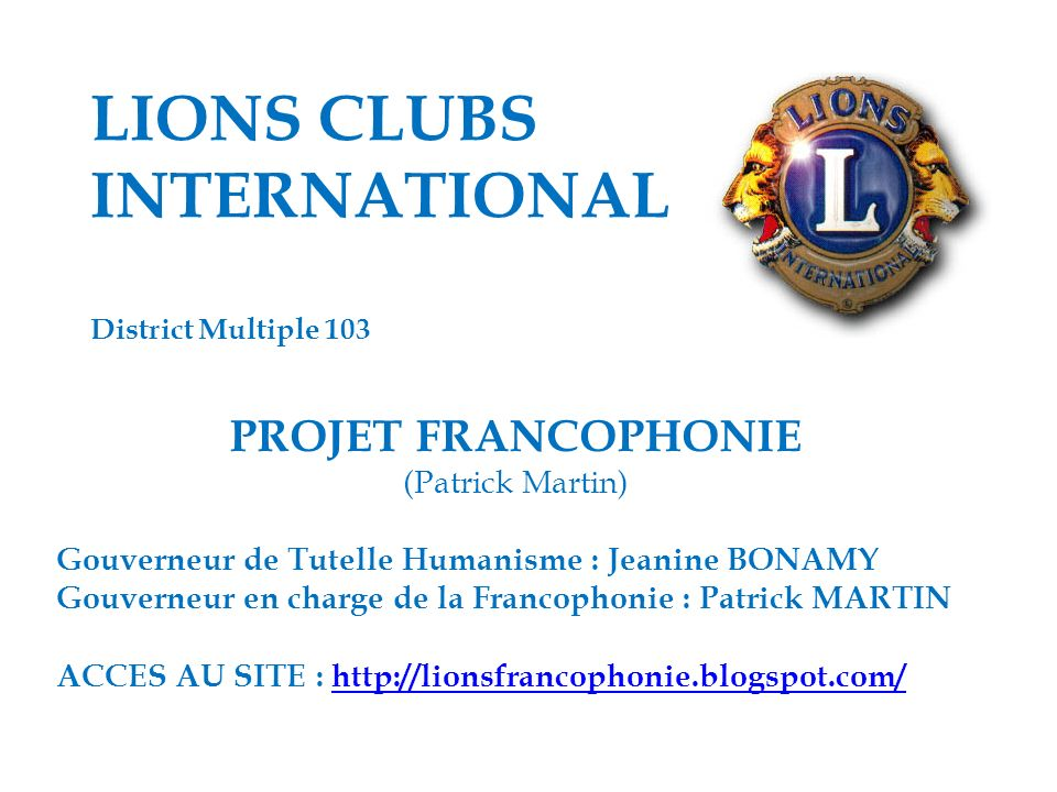 LIONS CLUBS INTERNATIONAL District Multiple 103