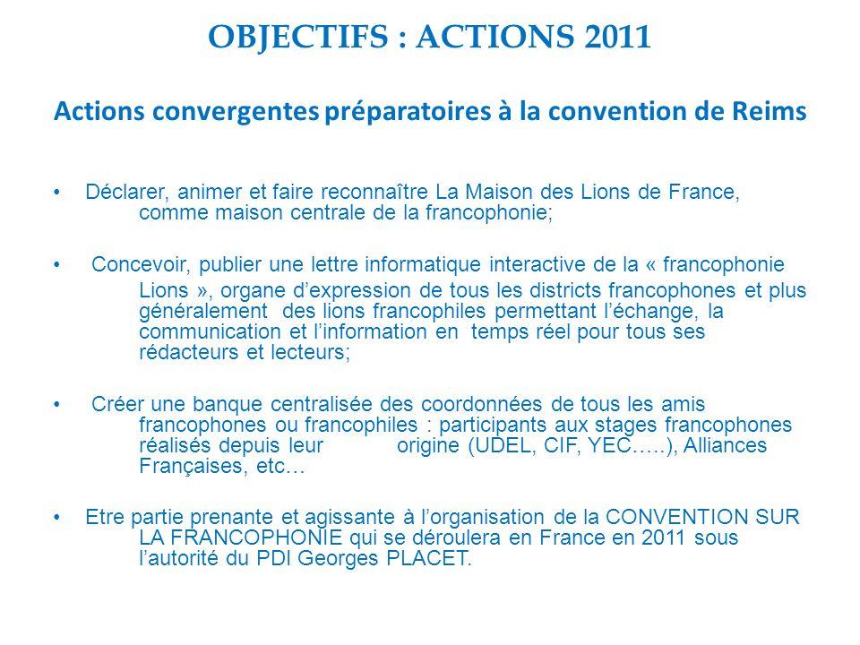 OBJECTIFS : ACTIONS 2011 Actions convergentes préparatoires à la convention de Reims