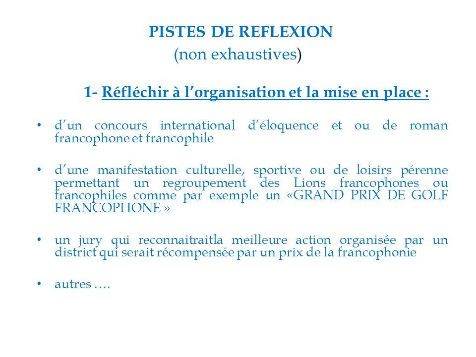 PISTES DE REFLEXION (non exhaustives)
