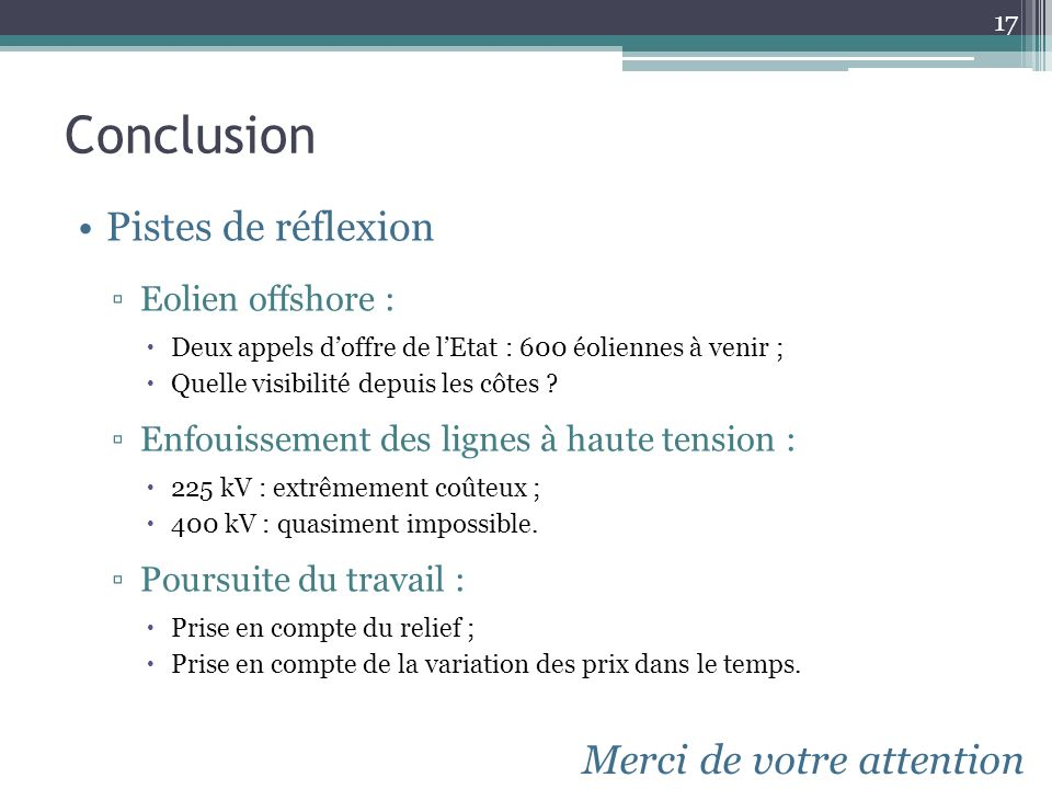 Conclusion Pistes de réflexion Merci de votre attention