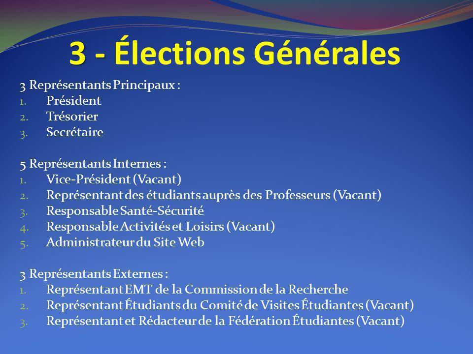 3 - Élections Générales 3 Représentants Principaux : Président
