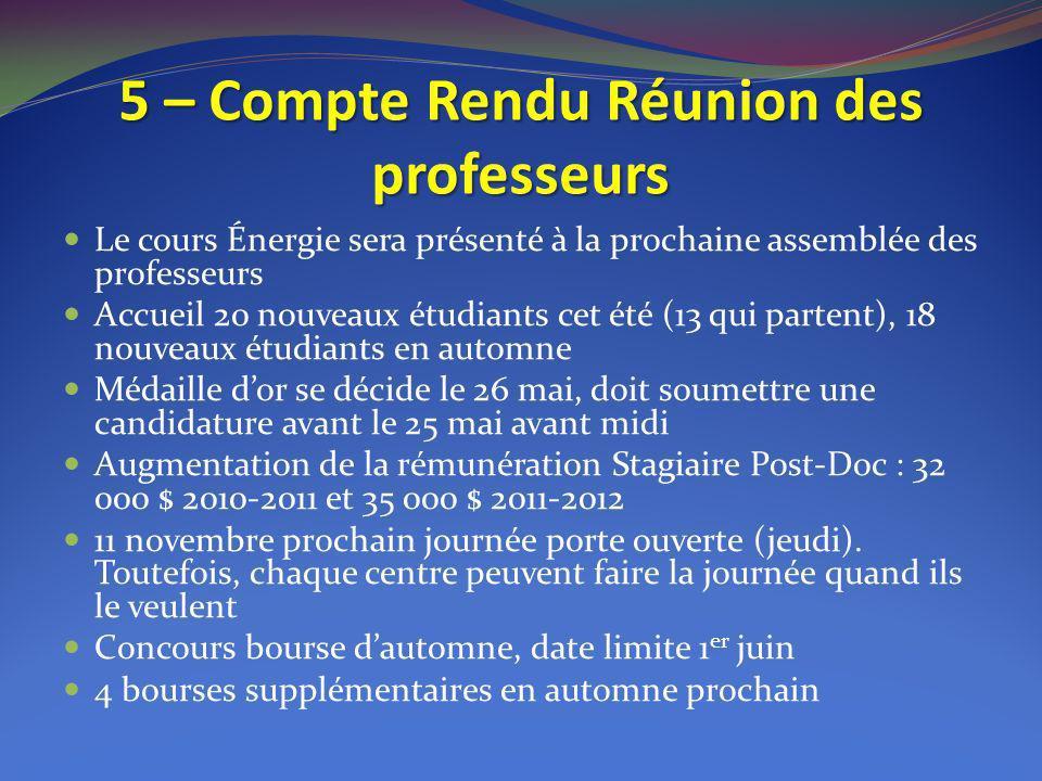 5 – Compte Rendu Réunion des professeurs